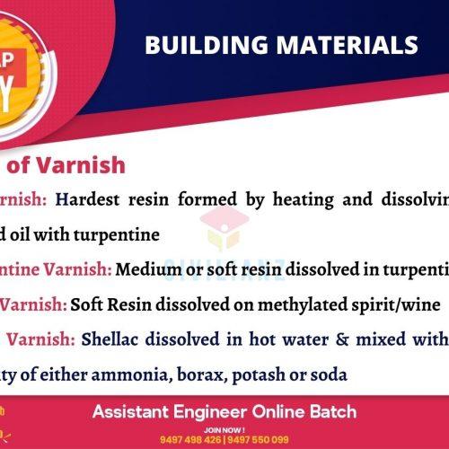 CIVIL SNAPS – BUILDING MATERIALS – TYPES OF VARNISH