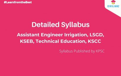 PSC AE CIVIL Syllabus – Irrigation, LSGD, KSEB, Technical Education, KSCC