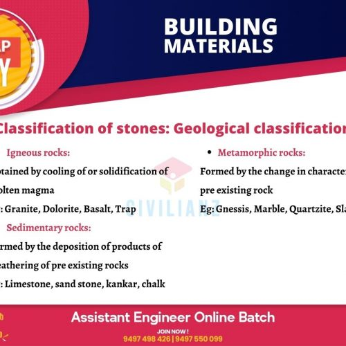 CIVIL SNAPS – BUILDING MATERIALS – GEOLOGICAL CLASSIFICATION
