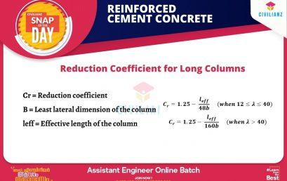 CIVIL SNAPS – REINFORCED CEMENT CONCRETE – Reduction Coefficient