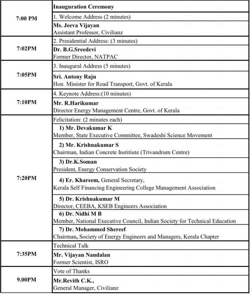 Programme Schedule on Saturday, October 2, 2021